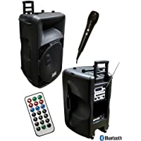 Absolute USA PRO USPRO15BT Portable 15-Inch Amplified Speaker with MP3/SD/USB/FM Radio Player Built-In Bluetooth