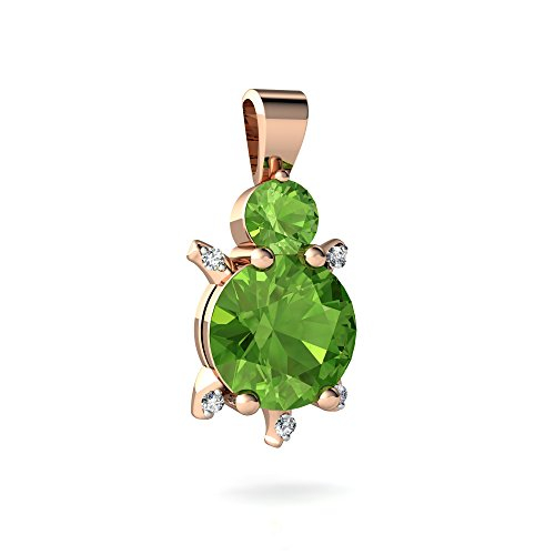 14kt Rose Gold Peridot and Diamond 4mm Round Turtle Pendant (Turtle Peridot)