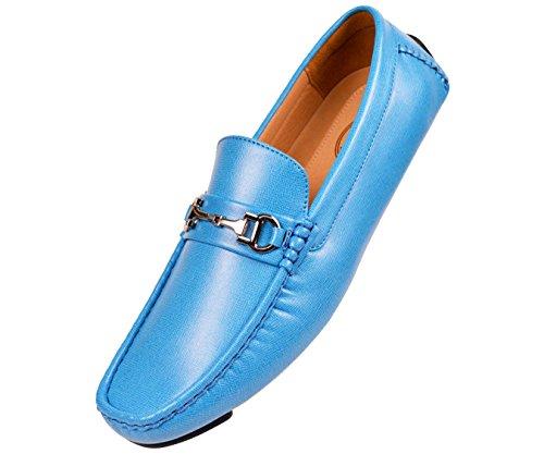 Chaussure Dentraînement Mocassin Lisse Texturée Amali Mens Avec Boucle Argentée Style Saffy Turquiose
