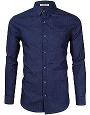 KUULEE Herren Hemd Slim Fit Karohemd/Jeanshemd Langarmhemd Business Freizeit Hemd männer