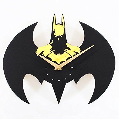 Foxtop Silent Batman Super Creative Fashion Wall Clock /Quartz Watches and Clocks, Batman Modeling (Yellow)
