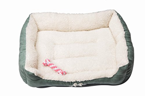 HappyCare Textiles 047393528445 Rectangle Pet Bed with Dog Paw Printing Toys, 25'' x 21'', Brown/Coffee by HappyCare Textiles (Image #1)