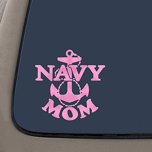 NI295 Navy Mom Military Car Window Wall Laptop Decal Sticker | Pink | 5-Inches By 5-Inches