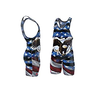 4-Time Sublimated Wrestling Singlet for Men and Youth, Powerlifting and Exercise Equipment, MMA Wrestling Ring Gear/Apparel, Black, Navy Blue, Red (Sizes: 3XS-3XL)