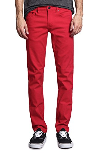 Victorious Mens Slim Fit Colored Stretch Jeans GS21 - RED -