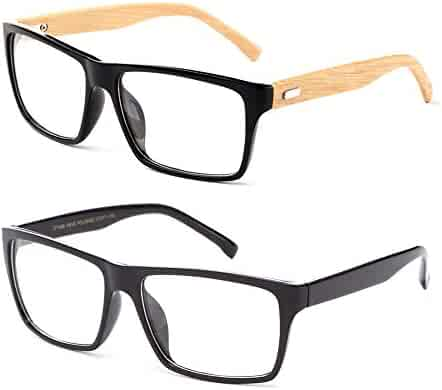 9000f93cc8 Newbee Fashion Classic Unisex Squared Fashion Clear Lens Eye Glasses    Sunglasses with Flash Lens