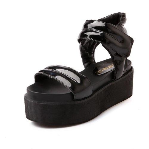 WeenFashion B Open Sandals Solid Heel US 5 Womens Kitten Black 6 M Material Toe PU Soft rSArqHxO