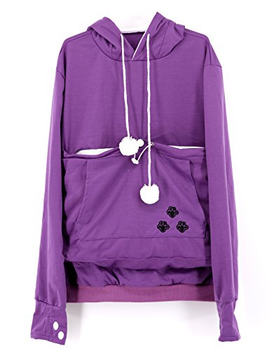 SAIANKE Womens Hoodies Pet Holder Cat Dog Kangaroo Pouch Carriers Pullover, Purple, Small