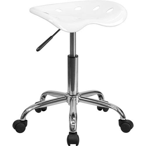 Parkside Vibrant White Tractor Seat and Chrome Stool by Parkside