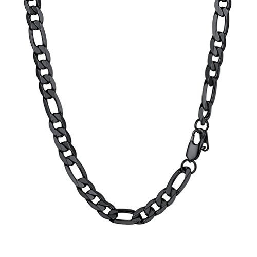 PROSTEEL Figaro Link Black Necklace Stainless Steel 9mm Big Wide Long Chain Chunky Necklace 30'' Men Jewelry Gift