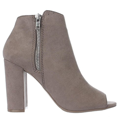 Material Girl Mg35 Carena Peep Toe Dubbel Zip Boots-taupe Taupe