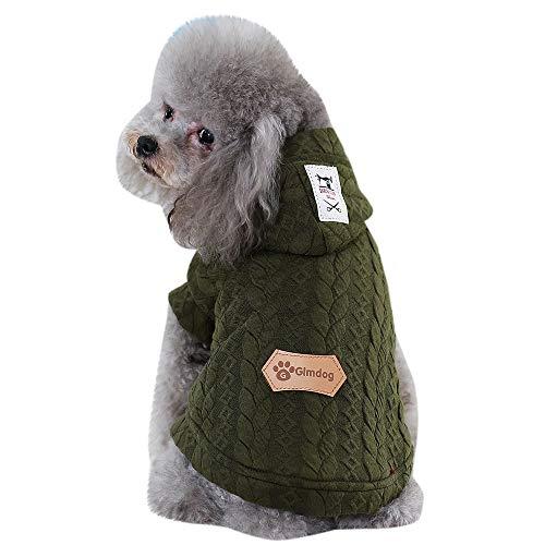 HUG(TM) Pet Clothes Dog Cat Winter Coat Apparel Puppy Grain Line Warm Vest Costum (M, Army Green) -