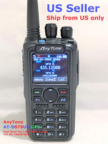 Price comparison product image AnyTone AT-D878UV GPS Updated firmware Upgraded 3100mAh Battery Dual Band DMR / Analog 144 & 480 MHz Radio