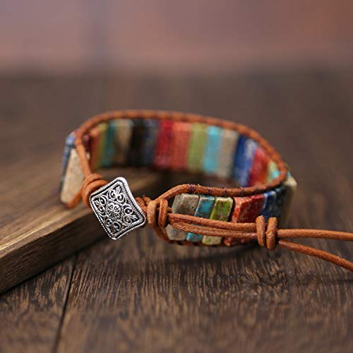NIHAI Imperial Stone Bracelet Hand-Knitted Single-Layer Leather Bracelet Men and Women Jewelry Handmade Adjustable Bracelet Party Bangle - Suitable for Family Girlfriend Gift