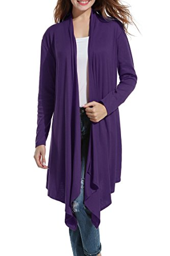 Womens Long Sleeve Open Front Long Maxi Cardigan Waterfall Asymmetric Draped Duster Coat Purple
