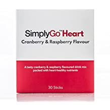 SimplyGo Heart | 30 Sticks | Plant Sterols in a Delicious Raspberry & Cranberry Flavour Supplement | Helps to Lower Cholesterol & Maintain a Healthy Heart | Just Add Powder to Water, Juice or Shakes