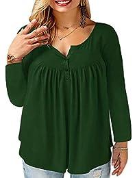 Women's Plus Size Henley Shirt Long Sleeve Buttons Up...
