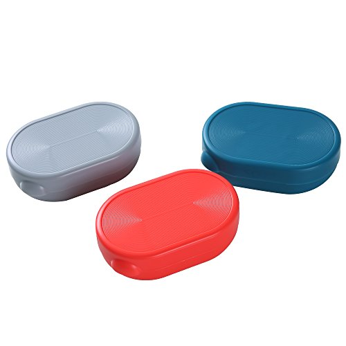 (Efivs Arts Soap Case Holder, Plastic Travel Soap Box Containers Waterproof Portable Soap Dish for Home Gym Outdoor Camping 3 Pack (Red Blue and Gray))