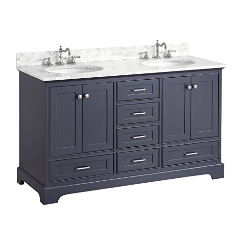 Aria 60-inch Double Bathroom Vanity (Carrara/Charcoal Gray): Includes a Charcoal Gray Cabinet with Soft Close Drawers, Authentic Italian Carrara Marble Countertop, and White Ceramic Sinks