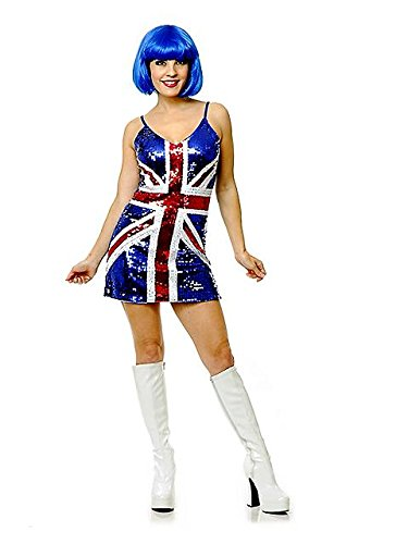 Charades Women's British Sequin Dress, Blue, Small (British Costumes)