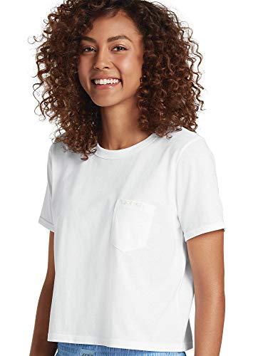 - Jockey Women's Tops Signature Modern Mix Cropped Heather Tee, White, S