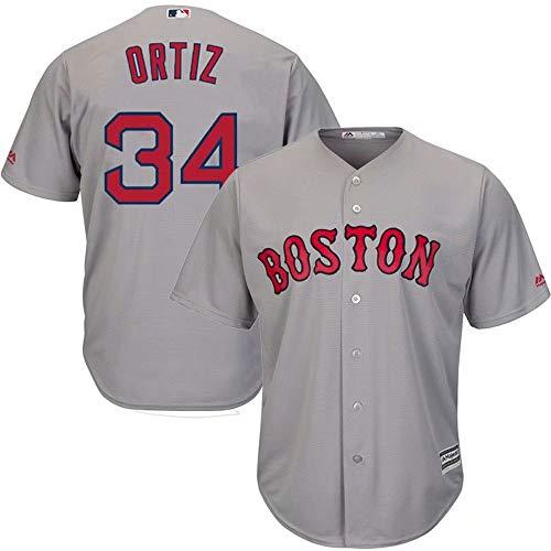 '47 Boston Red Sox Baseball Jersey Ortiz #34 Short Sleeve T-Shirt Button Down Team Sportswear Uniform for Men Women Kids Youth