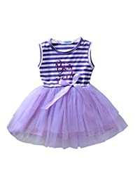 Babywow Infant Baby Girls Big Sister Sleeveless Striped Dresses Tulle Tutu Dress