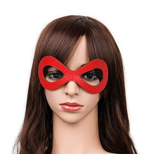 Luxury Black Red Leather Half Cat Eye Costume Mask Halloween Cosplay Fancy Dress Make Up Masquerade Party Props Accessory (Red)
