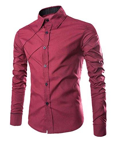 Vestidos De Entalladas Básica Vestir Camisetas Regular Fit Manga Cuello Rojo Casuales Juveniles Camisa Slim Hombres Caballero Vino Formal Para Camisas Larga Clásico Isshe Hombre Yq6fOw6