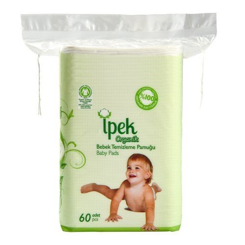 Ipek Organic Baby Pads Large 100% Cotton Total 360 Count in 6 Packs Squares Cotton pad Squares for Baby Care Pads - Organic 60 Cotton