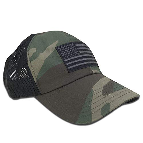 - Red White Blue Apparel American Flag Woodland Camo Unstructured Range Day Mesh Back Hat