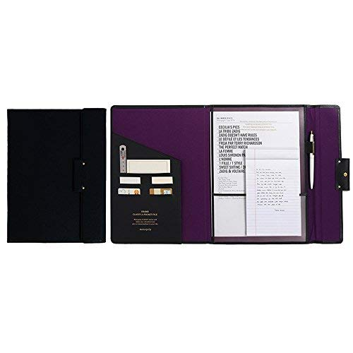 "(Professional Portfolio Briefcase File Folder File Organizer with Flap-Top Snap Closure, Premium Quality File Envelope Folder, A4 Documents Holder, Padfolio 12.79""X9.25"" (Black))"