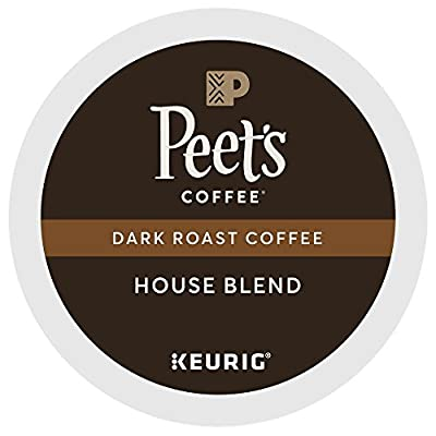 Peet's Coffee, House Blend, Dark Roast, K-Cup Pack (60 ct.), Single Cup Coffee Pods, Bright, Lively, & Balanced Dark Roast Blend of Latin American Coffees, Deep Roasted; for All Keurig K-Cup Brewers
