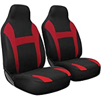 Motorup America Auto Seat Cover Set - Integrated High Back Seat - Mesh Covers Fits Select Vehicles Car Truck Van SUV - Red