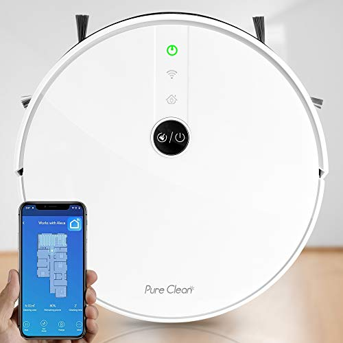 Alexa Smart Robot Vacuum Cleaner - Gyroscope S Path - Self Charging Automatic Cleaning Robotic Sweeper Wireless Control via WiFi Google Assistant, Works w/ Carpet Hardwood Floor - Pure Clean PUCRC455