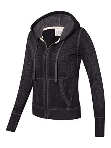 J. America Ladies Zen Full Zip Hooded Sweatshirt (Large, Twisted Black)