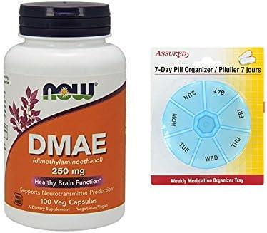 AHORA DMAE 250 mg, cápsulas de 100 Veg con gratis 7 días plástico píldora organizadores