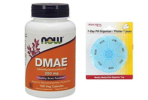 Amazon.com: AHORA DMAE 250 mg, cápsulas de 100 Veg con gratis 7 días plástico píldora organizadores: Health & Personal Care