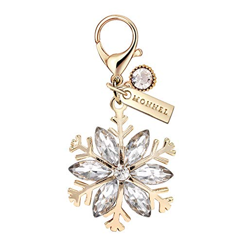 - MC129 New Cute Clear Crystal Gold Snowflake Lobster Charm Pendant with Pouch Bag (1 Piece)