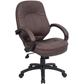 Exceptionnel Boss Office Products B726 BB LeatherPlus Executive Chair In Bomber Brown