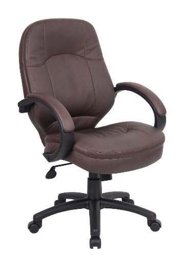 Boss Office Products B726-BB LeatherPlus Executive Chair in Bomber Brown Brown Bomber Leather Executive Chair
