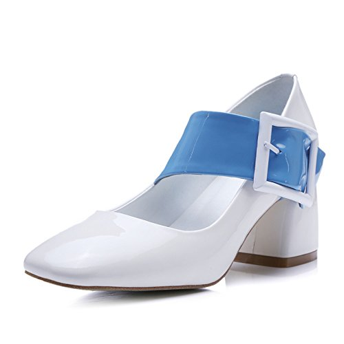 Cuadrados zapatos zapatos de tacón alto hebilla zapatos con gruesas cuadrado red Shallow boca zapatos palabra Forty-two