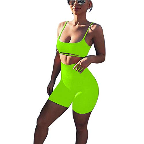 LUFENG Women's Suit Two Pieces Set Sexy Sleeveless Strapless Crop Top and Shorts Set (M, Neon Lime) (Spandex Shorts Neon)
