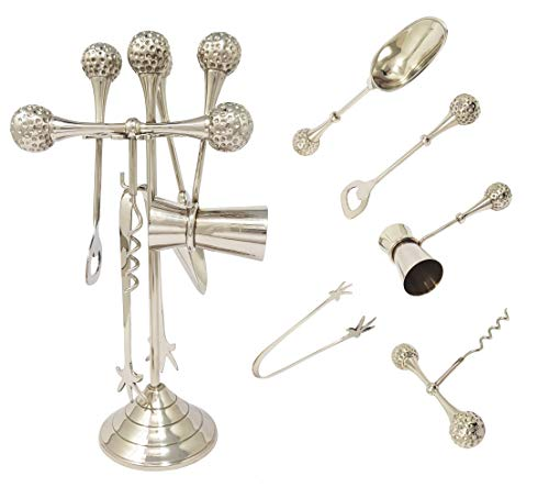 (Brass Nautical Golf Ball Themed 6 - Piece Mixing Bar Set – Bottle Cork opener, Jigger/Peg Measure cup, Ice Scoop, Tong on A beautiful stand)