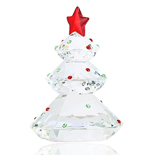 H&D Clear Crystal Glass Christmas Tree Holiday Figurine Paperweight Collection Ornament with Red Top Star (Crystal Figurines Christmas)