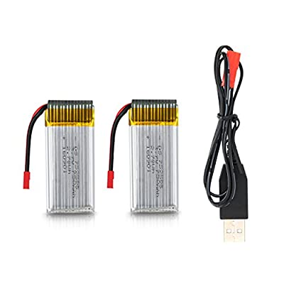 Potensic 7.4V 500mAh Li-po Battery And USB Charger for 181W 181C 181H 181WH 181DH Quadcopter Drone ( 2 Pcs)