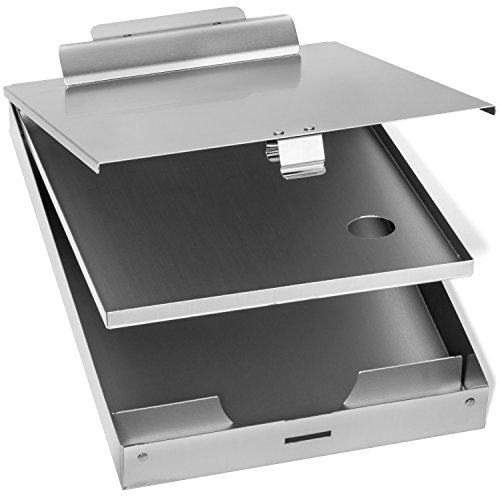 Blue Summit Supplies Aluminum Dual Storage Clipboard, 2 Compartments, Large Heavy Duty Clip for Letter Paper, Great for Office, Jobsite or Classroom ()