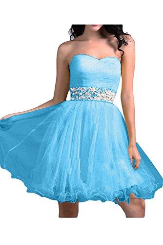 Por la noche en forma de corazón de la Toscana nupcial novia vestidos de tul vestido corto al para mujer vestidos de cóctel Azul