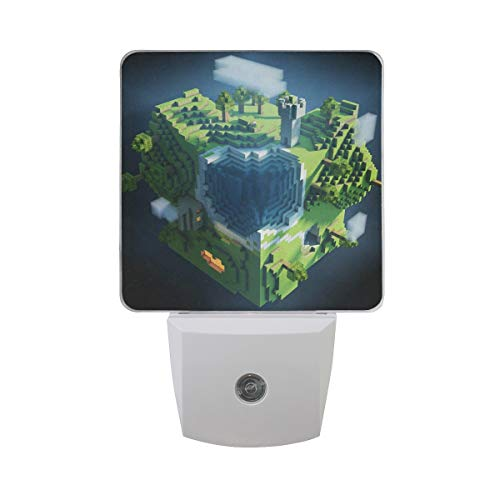 LED Night Light with Smart Dusk to Dawn Sensor,Architecture Planet Space Earth Minecraft Green Plug in Night Light Great for Bedroom Bathroom Hallway Stairways Or Any Dark Room -