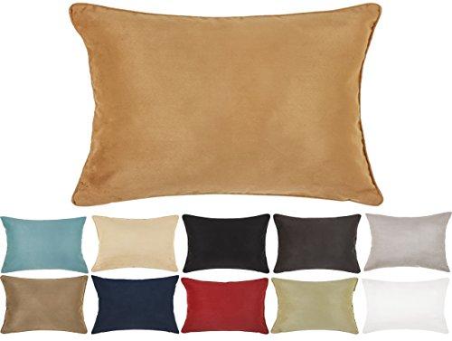 DreamHome 12 X 18 Inches Faux Suede Decorative Lumbar Pillow Cover/Sham (Tan)